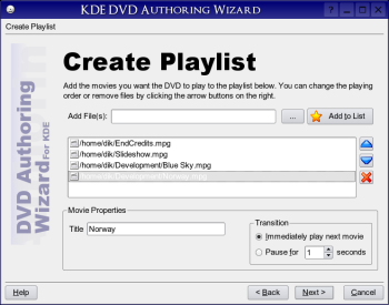KDE DVD Authoring Wizard