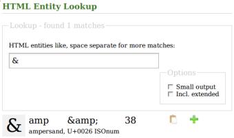 HTML Entity Lookup