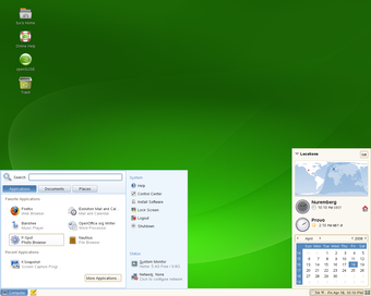 openSUSE 11.0 Beta 1 GNOME 桌面截图