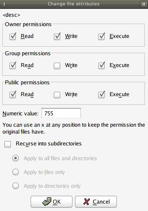 filezilla change file     attributes