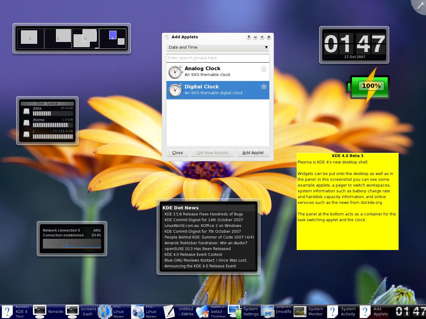 以下是有关 KDE 4.0 Beta 3 的一些 ...